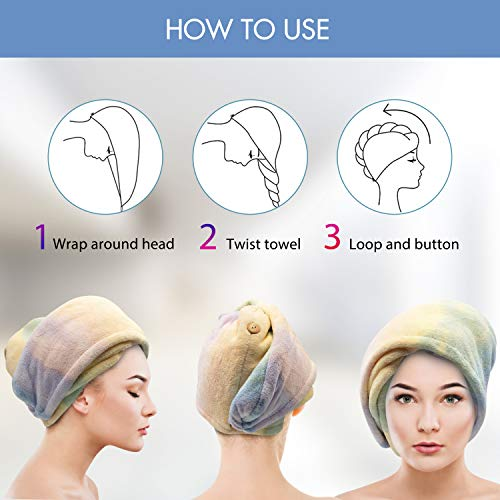 Microfiber Hair Towel Wrap for Women, Ultra Absorbent Hair Fibers for Quick Drying, Anti Frizz Hair Turbans for Wet Hair