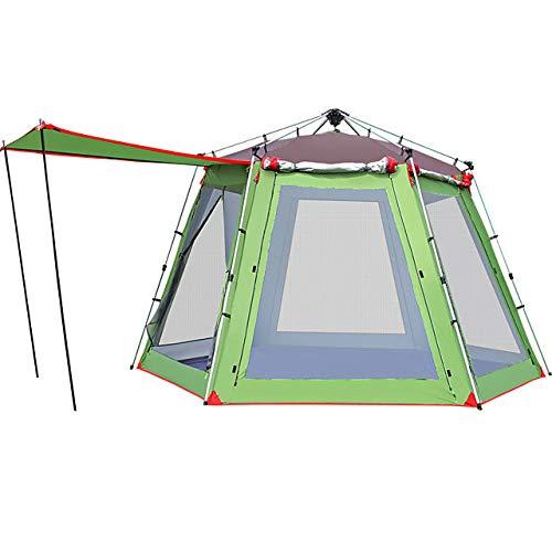 8-persoons familietent Outdoor winddicht Regen Waterdicht Draagbaar Dubbellaags paaltent Tent> 3000 mm voor kamperen/wandelen/grotten picknicken Oxforddoek 370 * 300 * 230 cm