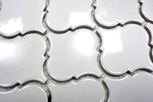 Retro Vintage Mosaik Fliese Keramik Florentiner weiß glänzend MOS13-1WG_m