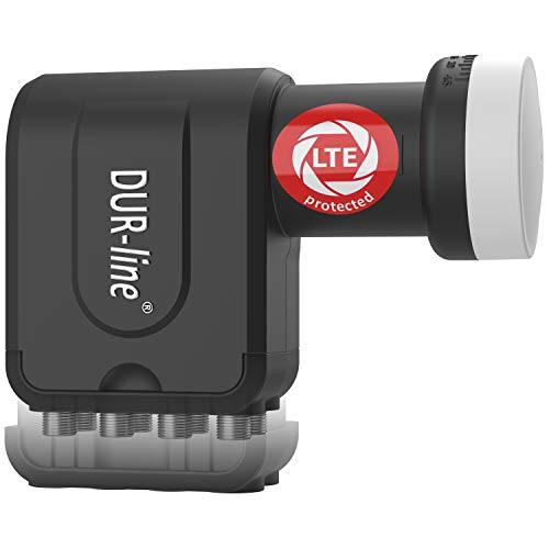 DUR-line +Ultra Octo LNB - 8 Teilnehmer schwarz - mit LTE-Filter, 8-Fach, digital mit Wetterschutz, Full HD, 4K,Premium-Qualität