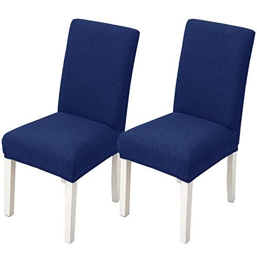 KinHwa Fundas de Silla para Comedor, Fundas elásticas para sillas de Comedor, Fundas Protectoras para sillas de Comedor, hoteles, Ceremonias (Juego de 2, Azul Marino)