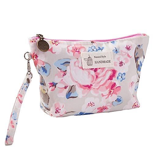 Elegante y espaciosa bolsa de cosméticos para mujer, bolsa de maquillaje impermeable, bolsa de cosméticos para viajes, bolsa de aseo para mujer, para llevar (color: flor, tamaño: A)
