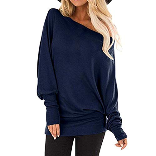 Shirt Women Novelty Long Sleeve Round Neck Solid Color Off Shoulder Fashion Retro Loose Stretch Beach Vacation Light Airy Sweatshirt Autumn Winter New Party Top 4XL