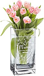 Casa Vivente Blumenvase mit Gravur für Mama, Wir haben Dich lieb, Glasvase für Schnittblumen, Blumenherz auf Deko-Vase zum Muttertag, Muttertagschenk