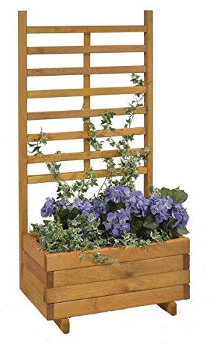 GASPO Blumenkasten mit Rankhilfe Gmunden Blumentopf aus Holz L 68 cm x T 37 cm x H 136 cm Honig
