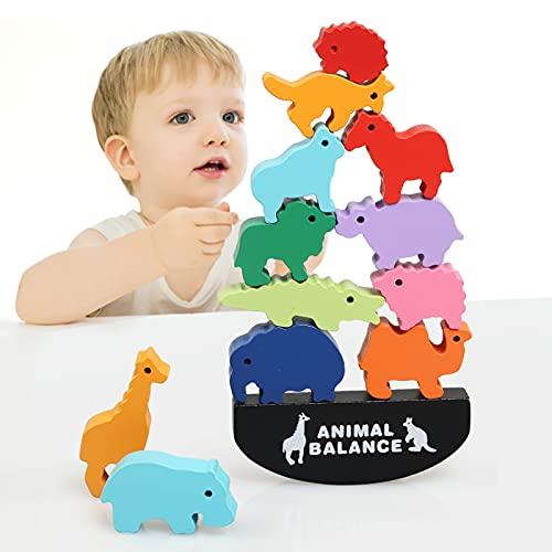 LEADSTAR Juegos de Apilamiento de Madera, Bloques de Madera Animales, Juego de Equilibrio para Niños, Juguetes Montessori Educativos para Aprender los Coloridos (Animal)