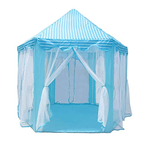 SZQ-Play Tents Hexangular Princess Play Tent, Puerile Tent House Indoor Playhouse Ventilate Mesh-like Tent In Summer (Blue, Green, Pink) Kids Teepee (Color : Blue, Size : 140 * 135CM)