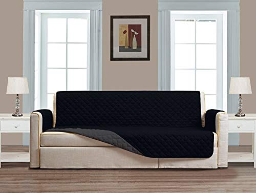 "Grand Linen Reversible Large Couch Cover 118"" X 76""-Furniture Protector for Pets, Kids, Dogs-Large Sofa, Standard Sofa, Loveseat, Recliner and Chair (Extra Wide Sofa-Black/Grey)"