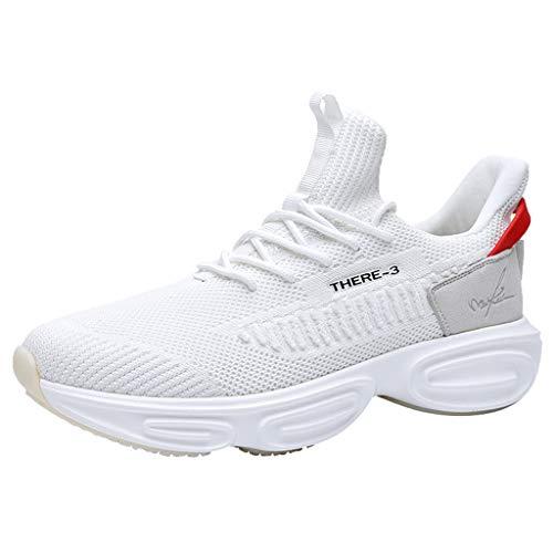 ELECTRI Chaussures de Sport Homme Multisports Compétition Trail Entraînement Course Running Baskets - Blanc et Noir - 43 EU
