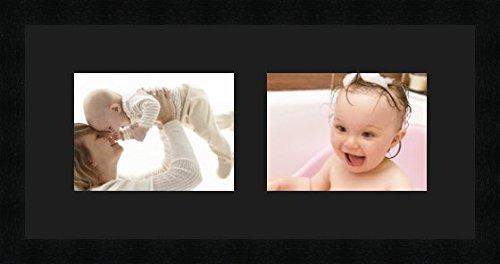 Cadre photo multivues Noir 2 photo(s) 20x15 passe partout, Cadre photo 53x25 cm Noir, 3 cm de largeur.
