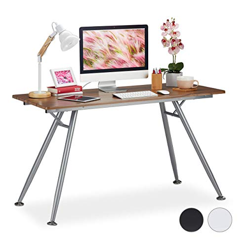 Relaxdays Schreibtisch, modernes Design, für Jugendzimmer & Büro, große Arbeitsfläche, HBT: 77 x 135 x 60 cm, braun