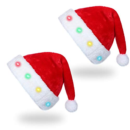 2 Pieces LED Santa Hat Plush Christmas Hat LED Lights for Christmas Costume Props Party Decor