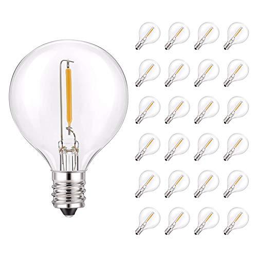 G40 LED String Light Reemplazo de bombilla, filamento LED Mini bombilla de luz de globo 1W Blanco ultra cálido 2700K 10W Reemplazo equivalente - E12 Bombillas de candelabro - Paquete de 25