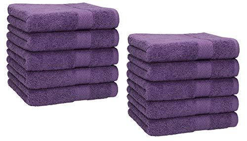 Betz Lot de 10 Serviettes débarbouillettes lavettes Taille 30x30 cm en 100% Coton Premium Couleur Violet