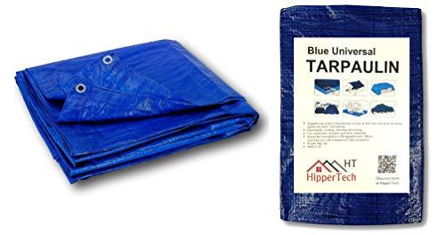 HipperTech 5m x 8m / 16ft x 26f Blue Waterproof Tarpaulin - Tarp Sheet Cover - Woven Polyethylene and Laminated 5m x 8m = 40m² (16ft x 26ft = 416sq ft) - 60 GSM - Weight
