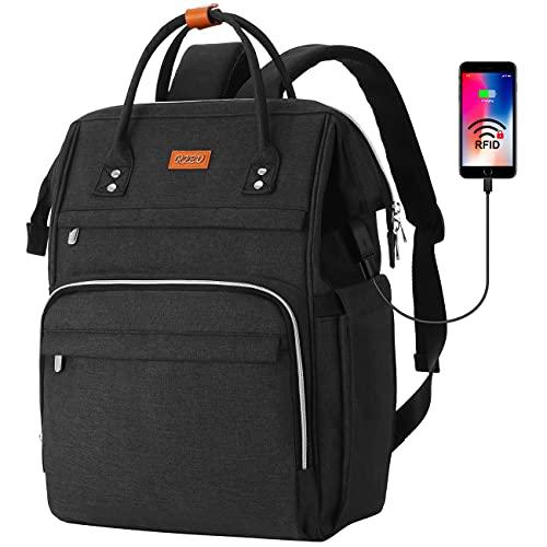 RJEU Mochila Portatil 15,6 Pulgadas con Bolsillo RFID,Mochila de ocio Mujer con Puerto de Carga USB para la Escolares/Escola/Negocios/Viajes(Negro)