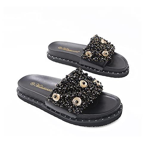 Sandalias de plataforma plana para mujer, de moda, antideslizante, zapatos impermeables, Black, 42 EU