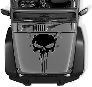 COZARIKA Reversed Jeep Wrangler JK TJ YJ Decal Tattered Distressed Punisher Skull USA Made + Free Decal (Black Matte)