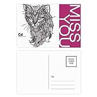 ヒトのペンキの静かな赤ちゃん猫 ポストカードセットサンクスカード郵送側20個ミス