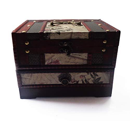 ISOTO Retro-Schmuckkästchen/Aufbewahrungsbox aus Holz mit Spiegel für Gilrs Freundin Frauen zum Muttertag, 22 x 16 x 16 cm