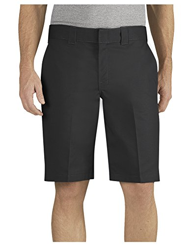 Dickies Men's 11 Inch Relaxed Fit Stretch Twill Work Short, Black, 36