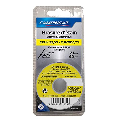 CAMPINGAZ - Alambre de estaño 99,3% / cobre 0,7% sin plomo, diámetro 1 mm, 40 g