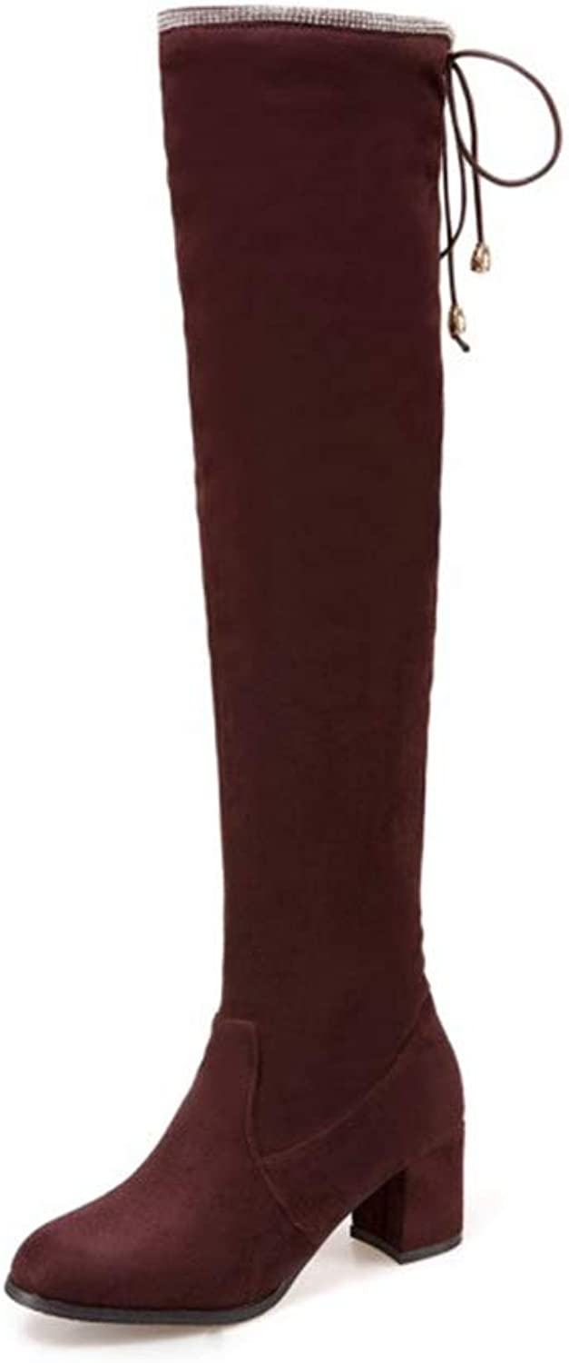 T-JULY Winter Women Fashion Over-The-Knee Boots Thick Round Toe Slip-on High Heels shoes