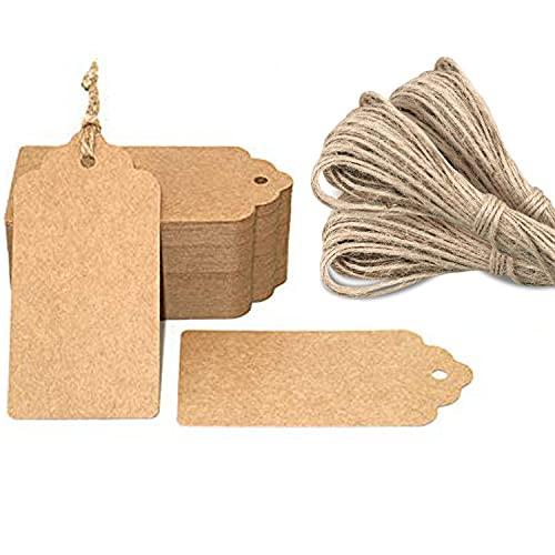 G2PLUS 100 st kraftpresentetiketter 5 cm x 10 cm tom etikett papper bröllopsetiketter födelsedag bagageetiketter brun hängetikett med 30 meter jutesnöre