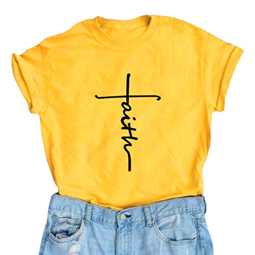 BLACKMYTH Women's Graphic Funny T Shirt Cute Tops Teen Girl Tees Yellow Large