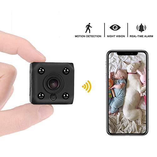 Mini cámara oculta espía, cámaras de vigilancia de seguridad HD 1080P WiFi, pequeña cámara encubierta inalámbrica para el hogar/niñera/bebé/coche/mascota con visión nocturna de detección de movimiento