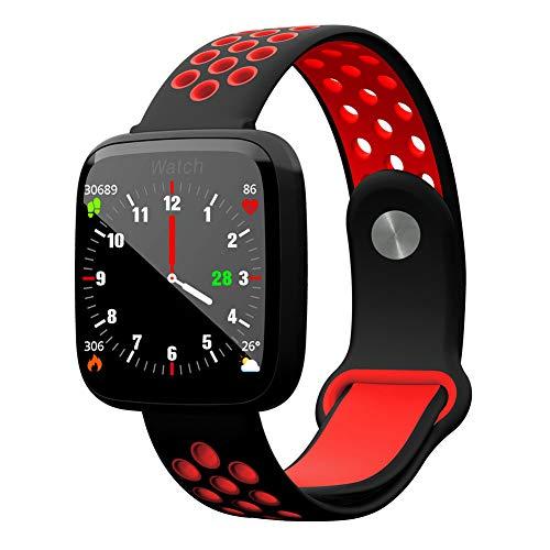 WANGXN Multifunktionale Sports Smart Armband Tempered Glass Stepping Herzfrequenz Schlaf-Überwachung,Red