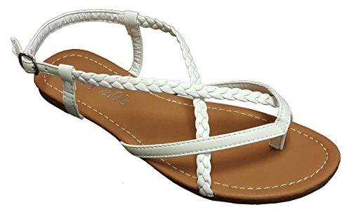 Elegant Damen Fashion Geflochtene Criss Cross Straps White Color Gladiator Flat Sandalen, Weiá (weiß), 37 EU