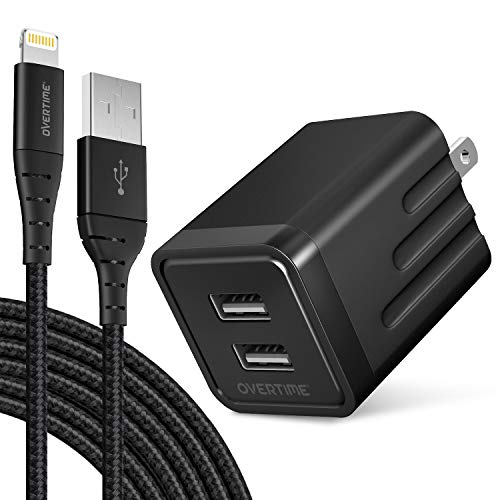 iPhone Charger Set, Overtime Apple MFi Certified Lightning Cable with Dual USB Wall Adapter 2.4 AMP Compatible w/iPhone 11 Pro Max XS XR X 8 7 6S 6 Plus SE AirPods iPad (Black/Black, 6ft)