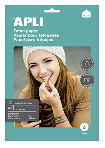 APLI Papel imprimir Tatuajes A4 2hojas Inkjet