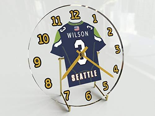 MyShirt123 NFL National Football League Schreibtisch-Uhr–NFC West American Football Trikot-Uhr–personalisierbar, Damen Herren Kinder, Seattle Seahawks
