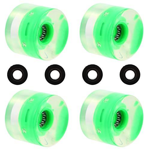 BESPORTBLE 4 Stück Skateboardräder Longboard Pu Räder Ersatz LED-Räder (Grün)