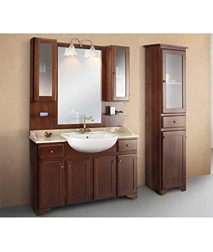 Global Trade Mobile Bagno con Due pensili e vetrina e con lavabo semincasso Linea Elba 140x58 cm cod. e140/2p
