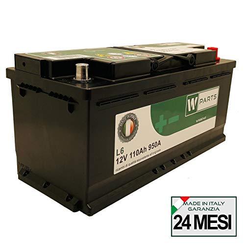 W-Parts Batteria Auto Camion 110 Ah - 950A Spunto Potenziata   Garanzia Italia   110Ah