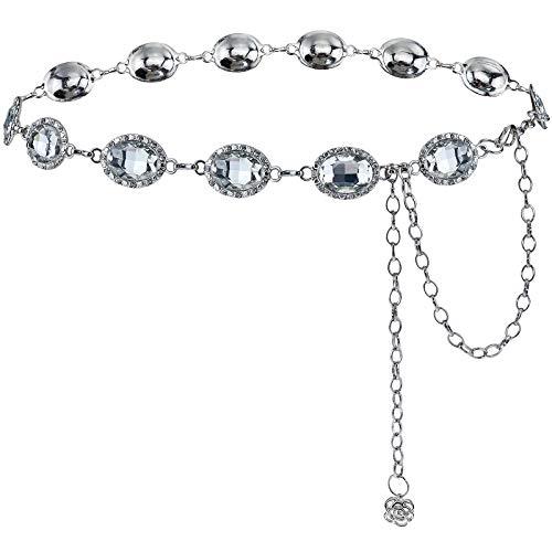 BAOKELAN Kettengürtel Für Frauen Vintage Crystal Link Taillenband Body Chain Silver 120cm / 47.2in