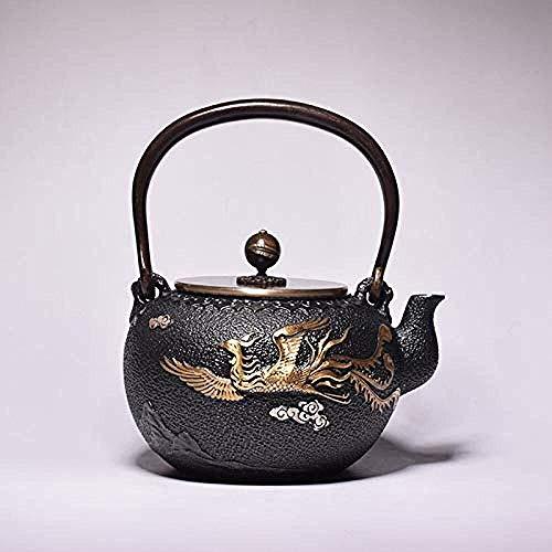 BANANAJOY Tetera, Juegos de té de té Ollas de hierro fundido tetera de té ollas de hierro de la tetera de hierro fundido tetera antigua del color de Phoenix arrabio Tetera Inicio Diario Kungfu de hier