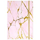 Grid Notebook/Journal - Squared Journal/Grid Notebook, Premium Thick Paper, 5.7'×8.5', Inner Pocket, Attached Ruler, Elastic Closure, Round Corner, Page Quick Page Finder, Gold & Pink Marble Pattern