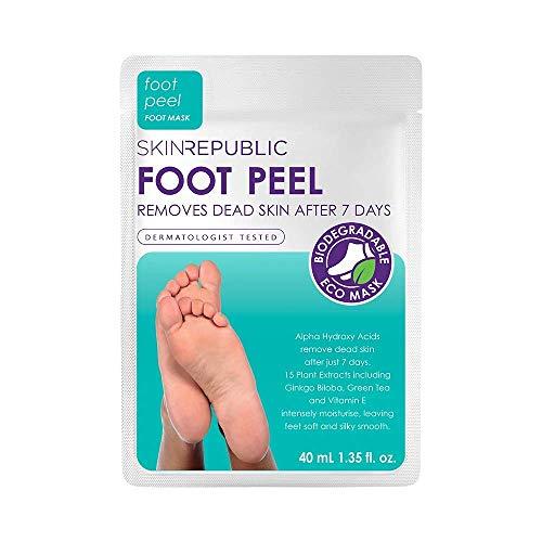 SKIN REPUBLIC AHA Exfoliating Foot Peel Mask - Fussmaske zur Hornhautentfernung. Samtweiche und zarte Fußpflege mit den Socken voller Vitamine. Dermatologisch getestet, beseitigt harte Haut in 7 Tagen (1pair)