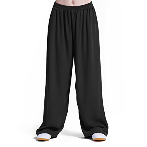 Chinese Traditional Style Martial Arts Pants, Pure COTTON & LINEN Super Breathable Extra Soft Tai Chi Trousers, Elastic Waist and Ankle. Perfect for Kung Fu Yoga Running, Black (Black, Large)
