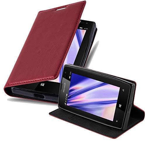 Cadorabo Hülle für Nokia Lumia 435 - Hülle in Apfel ROT – Handyhülle mit Magnetverschluss, Standfunktion & Kartenfach - Case Cover Schutzhülle Etui Tasche Book Klapp Style