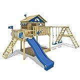 WICKEY Parco giochi in legno Smart Ocean Giochi da giardino con altalena e scivolo blu, Casa su palafitte da esterno con sabbiera e scala di risalita per bambini