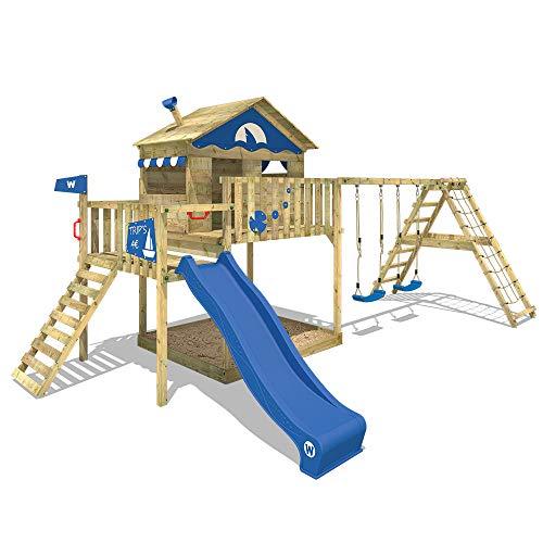 WICKEY Speeltoestel voor tuin Smart Ocean met schommel en blauwe glijbaan, Houten speeltuig, Speelhuis voor buiten met zandbak en klimladder voor kinderen