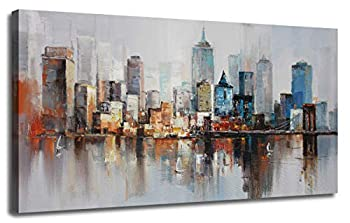 Canvas Wall Art Prints Modern Abstract Cityscape Brooklyn Bridge Painting Stretched and Framed Modern Colorful New York Skyline Buildings Picture for Home Office Decor 40 x20  Original Design