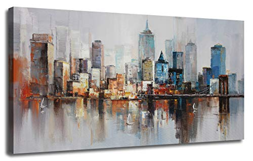 Canvas Wall Art Prints Modern Abstract Cityscape Brooklyn Bridge Painting Stretched and Framed Modern Colorful New York Skyline Buidlings Picture for Home Office Decor 48'x24', Original Design