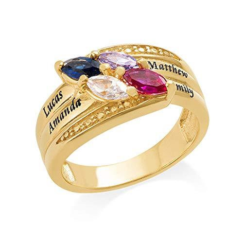 Anillo de nombre DIY personalizado 4 anillos de piedra natal anillo familiar anillo de plata esterlina 925 Navidad para madre(Chapado en oro de 18 k 17)