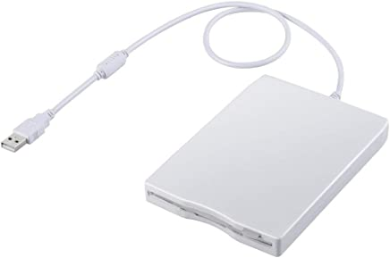 "Usee 3.5"" USB Floppy Disk 1.44MB External FDD Floppy Disk Drive Portable USB Floppy Disk Reader for PC MAC Windows (White)"